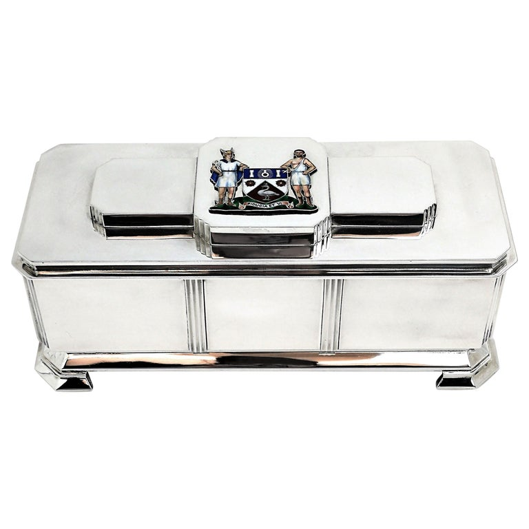 Art Deco Sterling Silver and Enamel Freedom Box, 1941 Arms of Borough of Slough For Sale