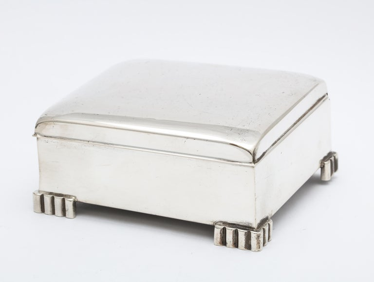 American Art Deco Sterling Silver Footed Table Box With Hinged Lid For Sale