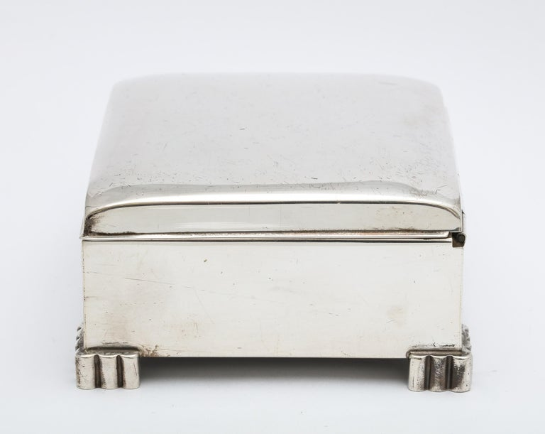 Mid-20th Century Art Deco Sterling Silver Footed Table Box With Hinged Lid For Sale