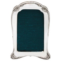 Art Deco Sterling Silver, Footed, Wood-Backed Picture Frame