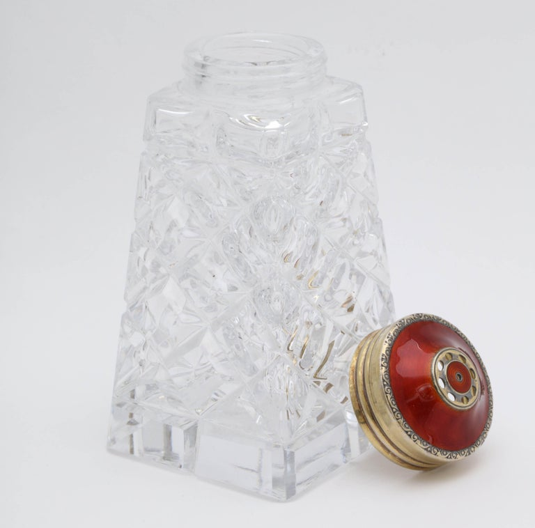 Mid-20th Century Art Deco Sterling Silver-Gilt and Red Guilloche Enamel-Mounted Sugar Shaker For Sale