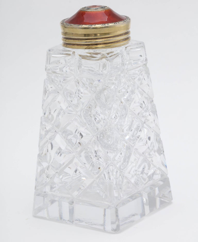 Art Deco Sterling Silver-Gilt and Red Guilloche Enamel-Mounted Sugar Shaker For Sale 4
