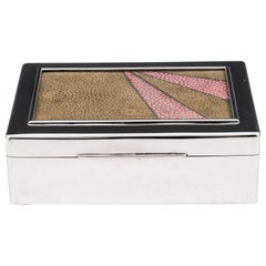 Art Deco Sterling Silver Glazed Shagreen Cigar Box, 20th Century