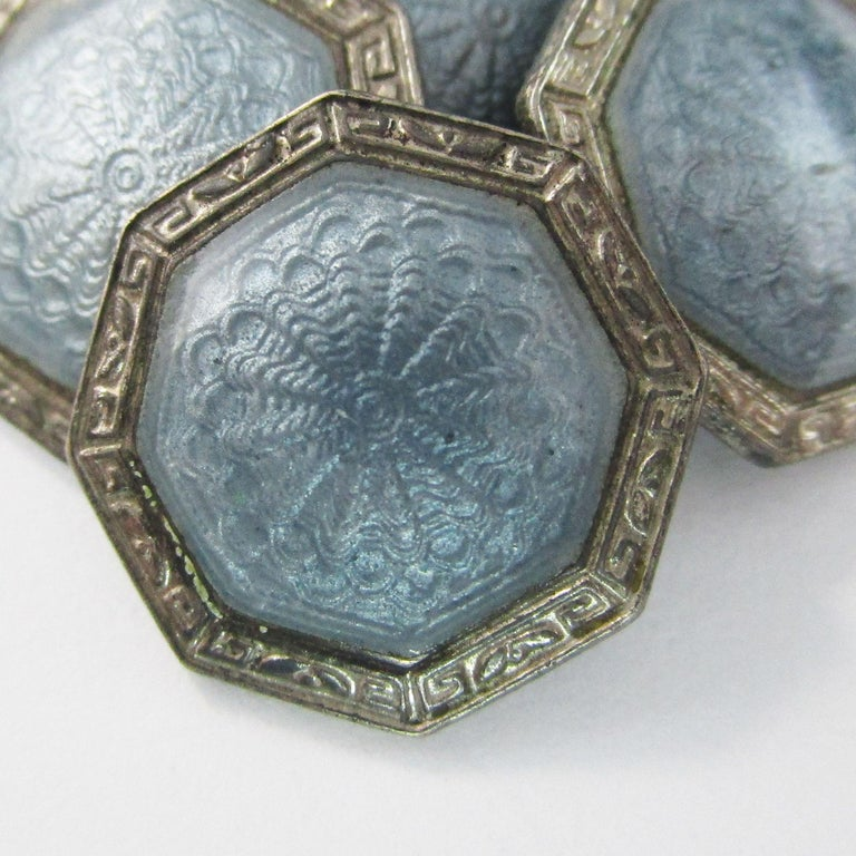 Women's or Men's Art Deco Sterling Silver Gray Guilloche Enamel Cufflinks For Sale