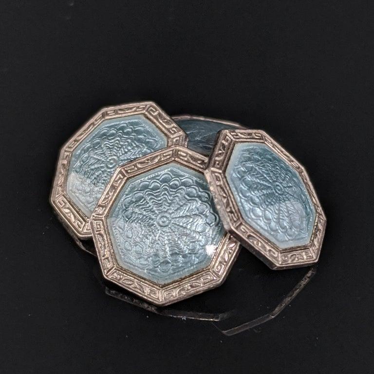 Art Deco Sterling Silver Gray Guilloche Enamel Cufflinks For Sale 1