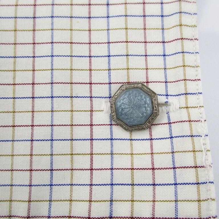 Art Deco Sterling Silver Gray Guilloche Enamel Cufflinks For Sale 2