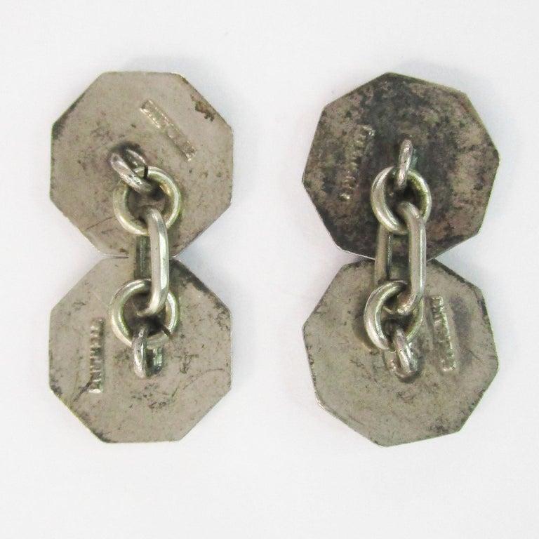 Art Deco Sterling Silver Gray Guilloche Enamel Cufflinks For Sale 3
