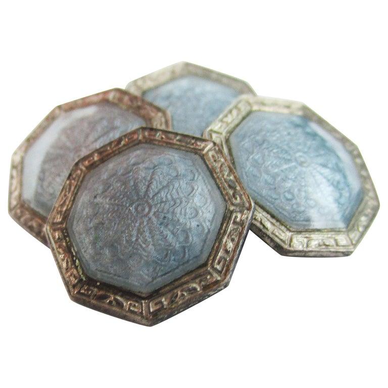 Art Deco Sterling Silver Gray Guilloche Enamel Cufflinks For Sale