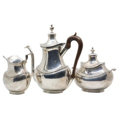 Art Deco Sterling Silver Handmade Tea Set with Rosewood Handles