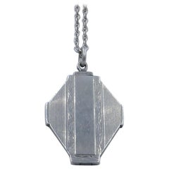 Art Deco Sterling Silver Locket and Necklace