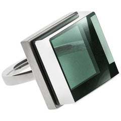 Art Deco Style Sterling Silver Men Ring with Green Amethyst, Featured in Vogue