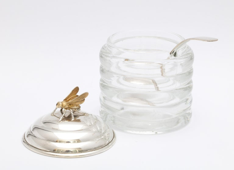 Art Deco Sterling Silver-Mounted Beehive-Form Honey Jar For Sale 5