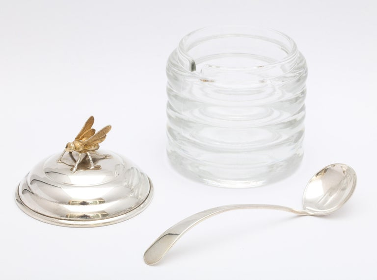 Art Deco Sterling Silver-Mounted Beehive-Form Honey Jar For Sale 6