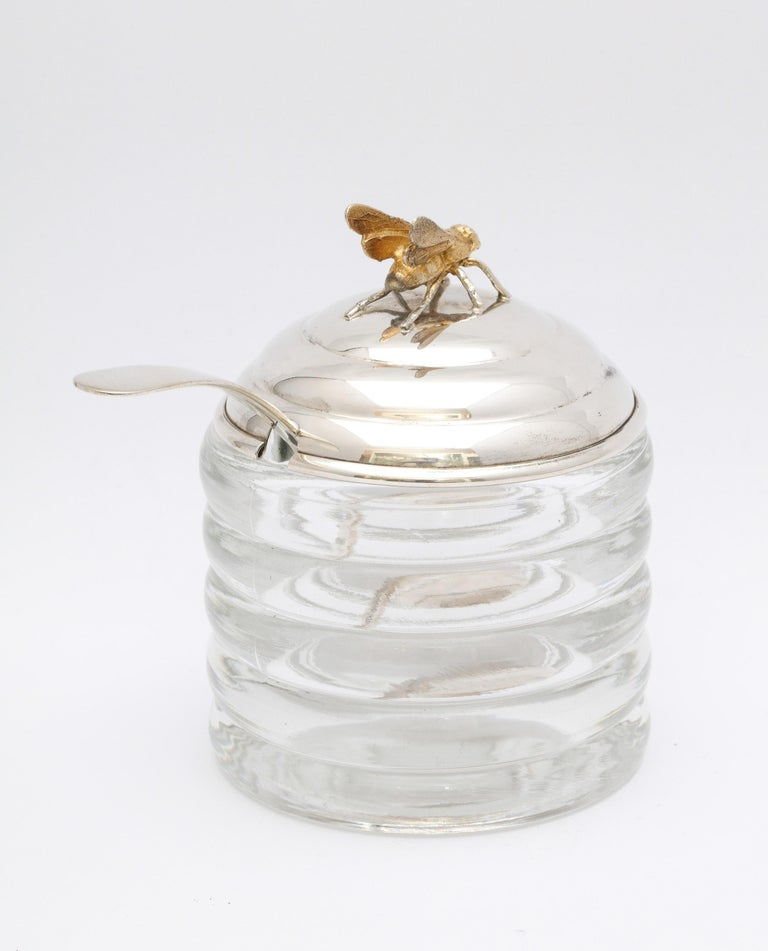 Gilt Art Deco Sterling Silver-Mounted Beehive-Form Honey Jar For Sale