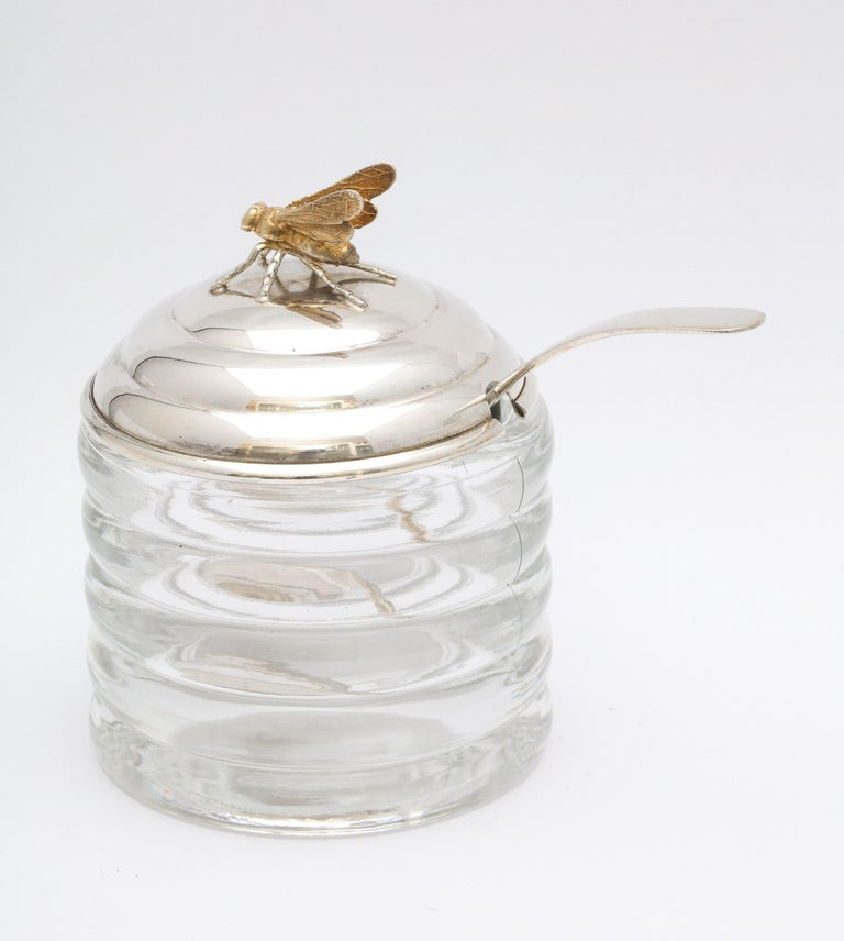 Mid-20th Century Art Deco Sterling Silver-Mounted Beehive-Form Honey Jar For Sale