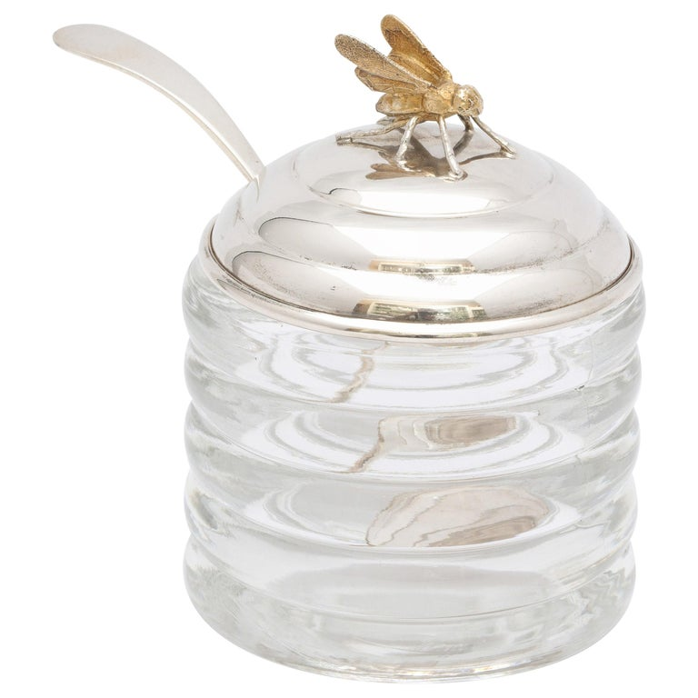 Art Deco Sterling Silver-Mounted Beehive-Form Honey Jar For Sale