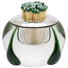 Art Deco Sterling Silver-Mounted Clear and Dark Green Crystal Match Striker
