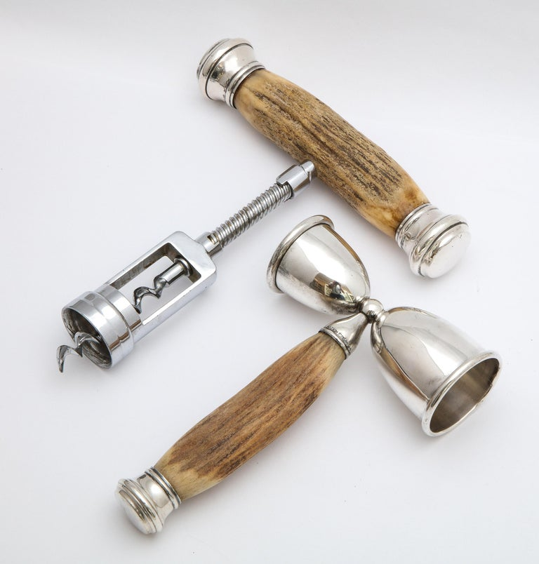 American Art Deco Sterling Silver-Mounted Horn Bar Set For Sale