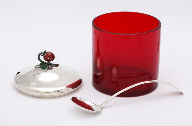Art Deco Sterling Silver-Mounted Red Glass Condiments Jar with Original Spoon For Sale 5