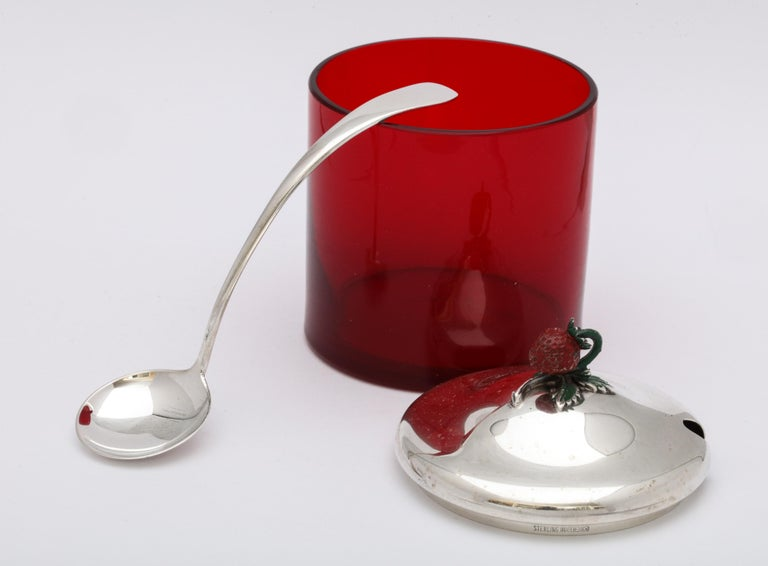 Art Deco Sterling Silver-Mounted Red Glass Condiments Jar with Original Spoon For Sale 6