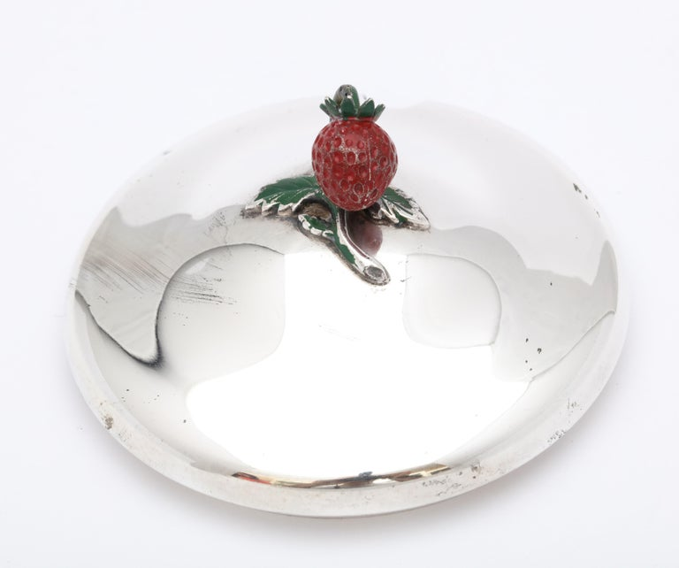 Art Deco Sterling Silver-Mounted Red Glass Condiments Jar with Original Spoon For Sale 8