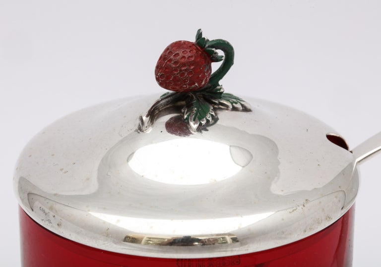 American Art Deco Sterling Silver-Mounted Red Glass Condiments Jar with Original Spoon For Sale