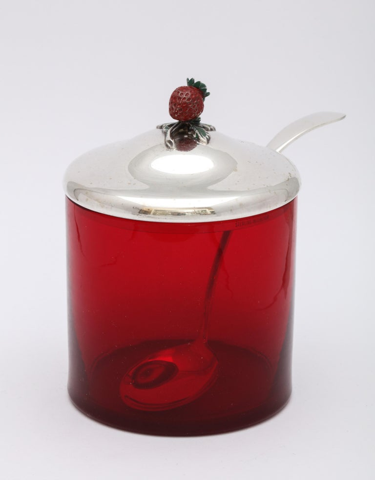 Art Deco Sterling Silver-Mounted Red Glass Condiments Jar with Original Spoon In Good Condition For Sale In New York, NY
