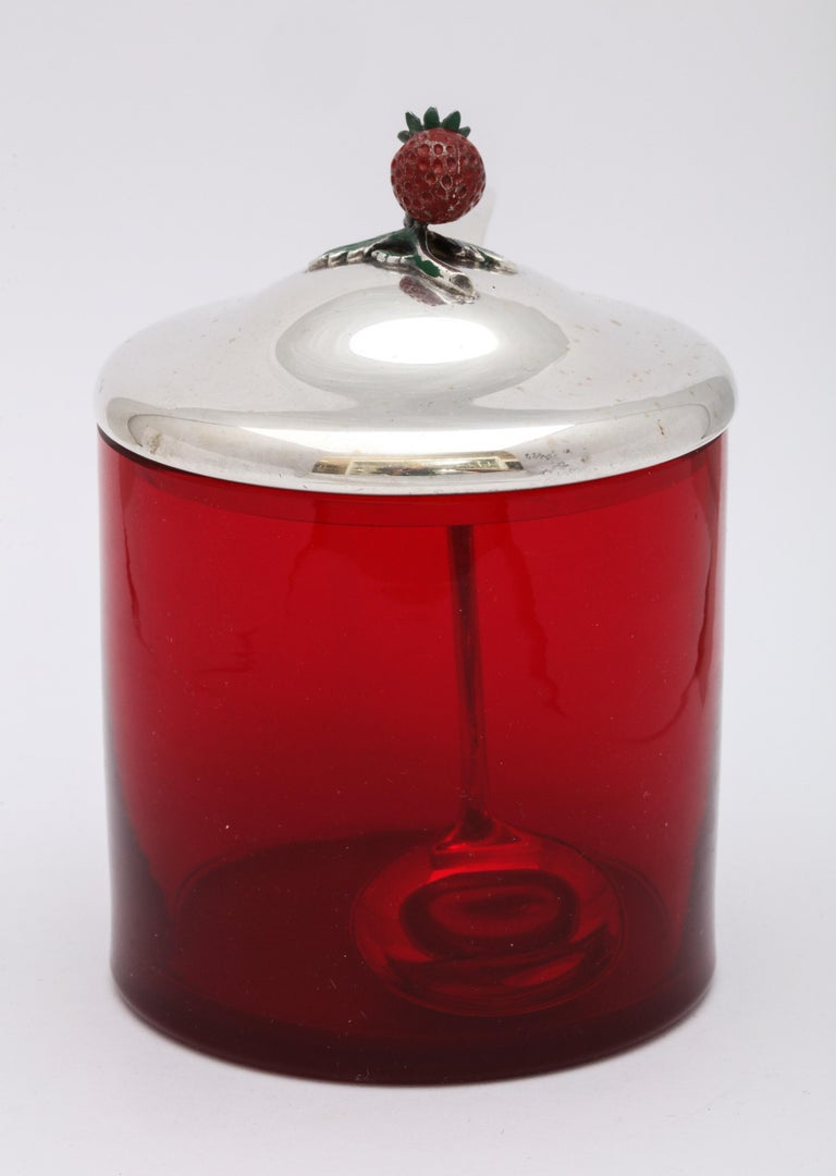 Mid-20th Century Art Deco Sterling Silver-Mounted Red Glass Condiments Jar with Original Spoon For Sale