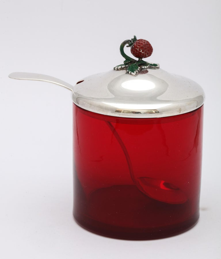 Art Deco Sterling Silver-Mounted Red Glass Condiments Jar with Original Spoon For Sale 2