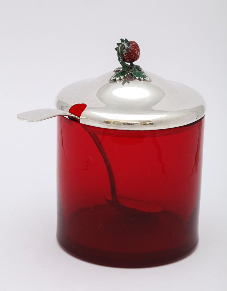 Art Deco Sterling Silver-Mounted Red Glass Condiments Jar with Original Spoon For Sale 3