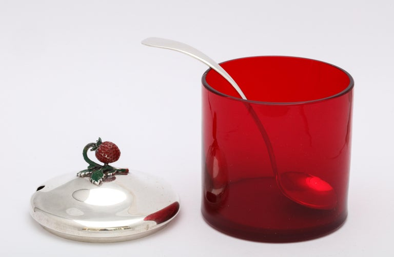 Art Deco Sterling Silver-Mounted Red Glass Condiments Jar with Original Spoon For Sale 4