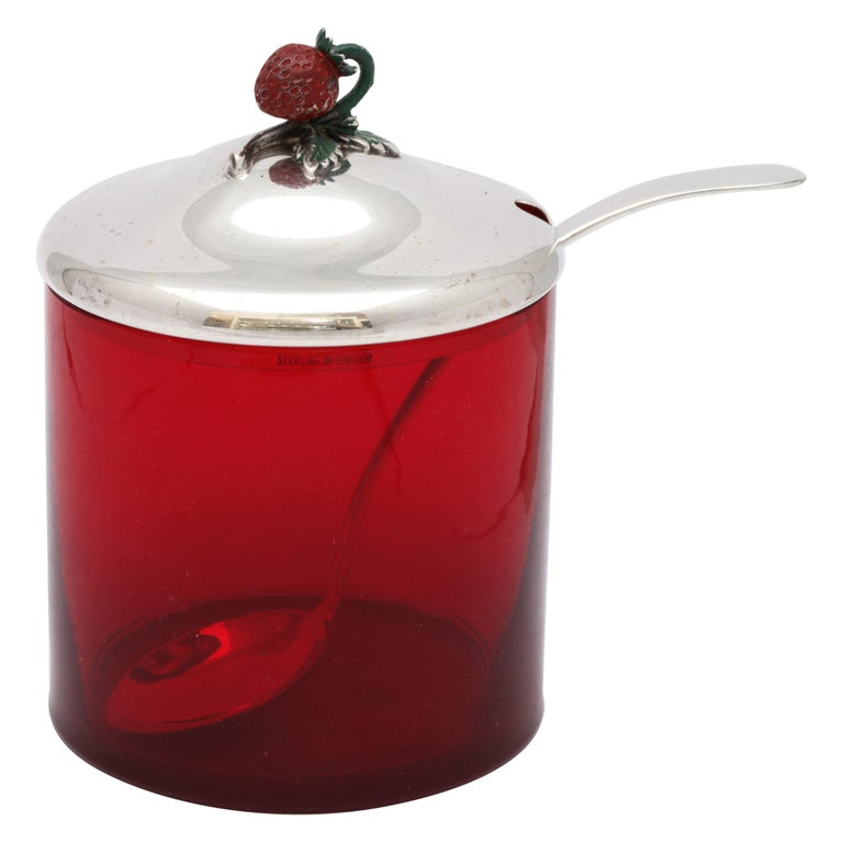 Art Deco Sterling Silver-Mounted Red Glass Condiments Jar with Original Spoon For Sale