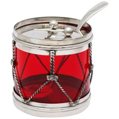Art Deco Sterling Silver-Mounted Red Glass Drum-Form Condiments Jar with Spoon