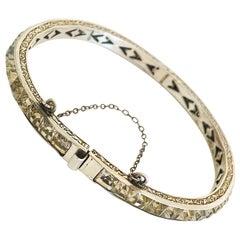 Art Deco Sterling Silver Paste Channel Set bracelet bangle