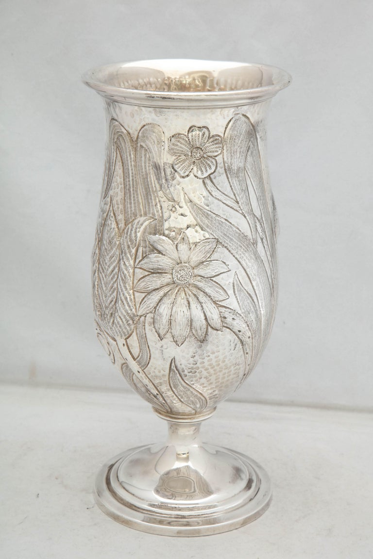 Art Nouveau - Style Sterling Silver Pedestal, Based Vase by Gorham For Sale 8