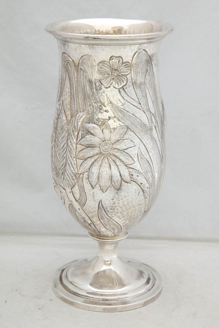 American Art Nouveau - Style Sterling Silver Pedestal, Based Vase by Gorham For Sale