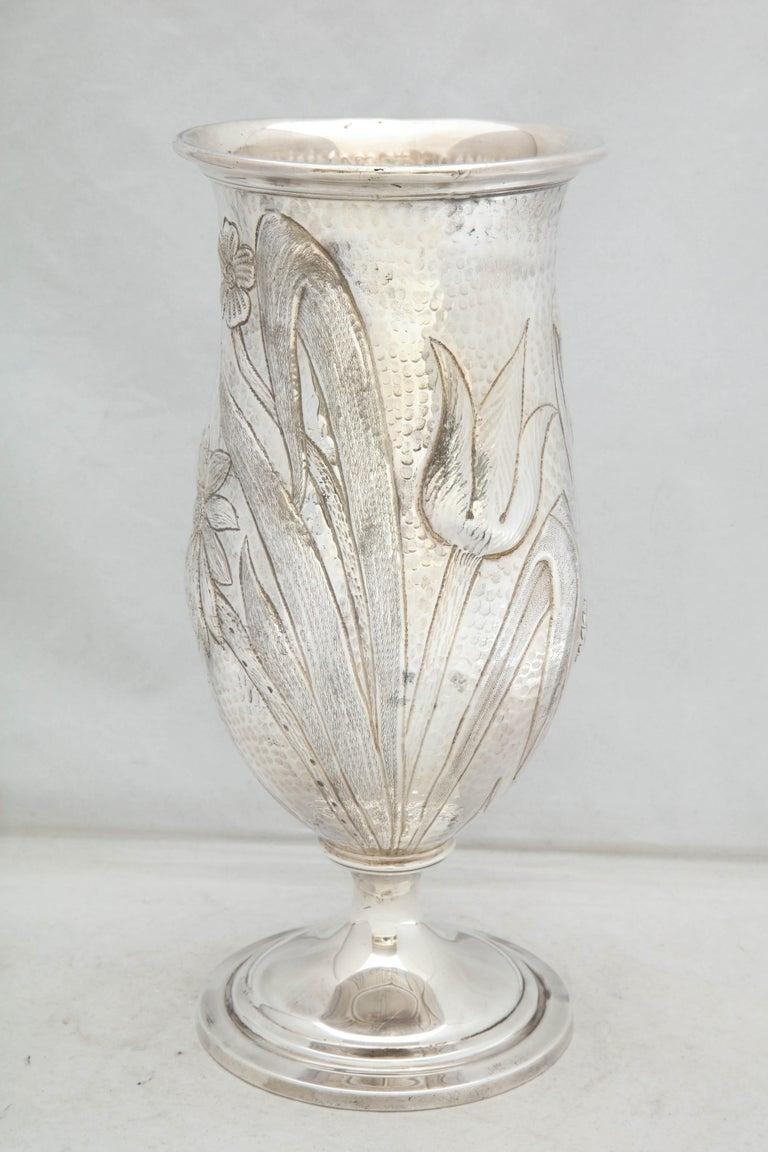 Hammered Art Nouveau - Style Sterling Silver Pedestal, Based Vase by Gorham For Sale