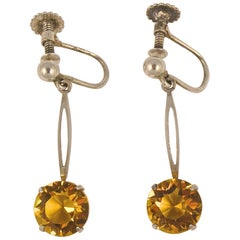 Art Deco Sterling Silver Screw Back Earrings with Faux Citrine Drops circa 1920s