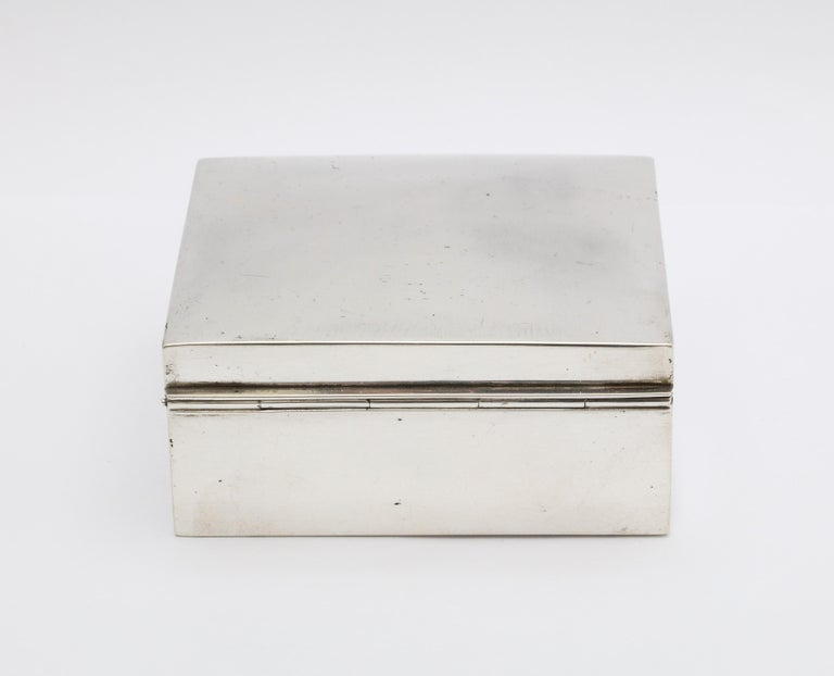 Gilt Art Deco Sterling Silver Table Box with Hinged Lid by Shreve & Co. For Sale