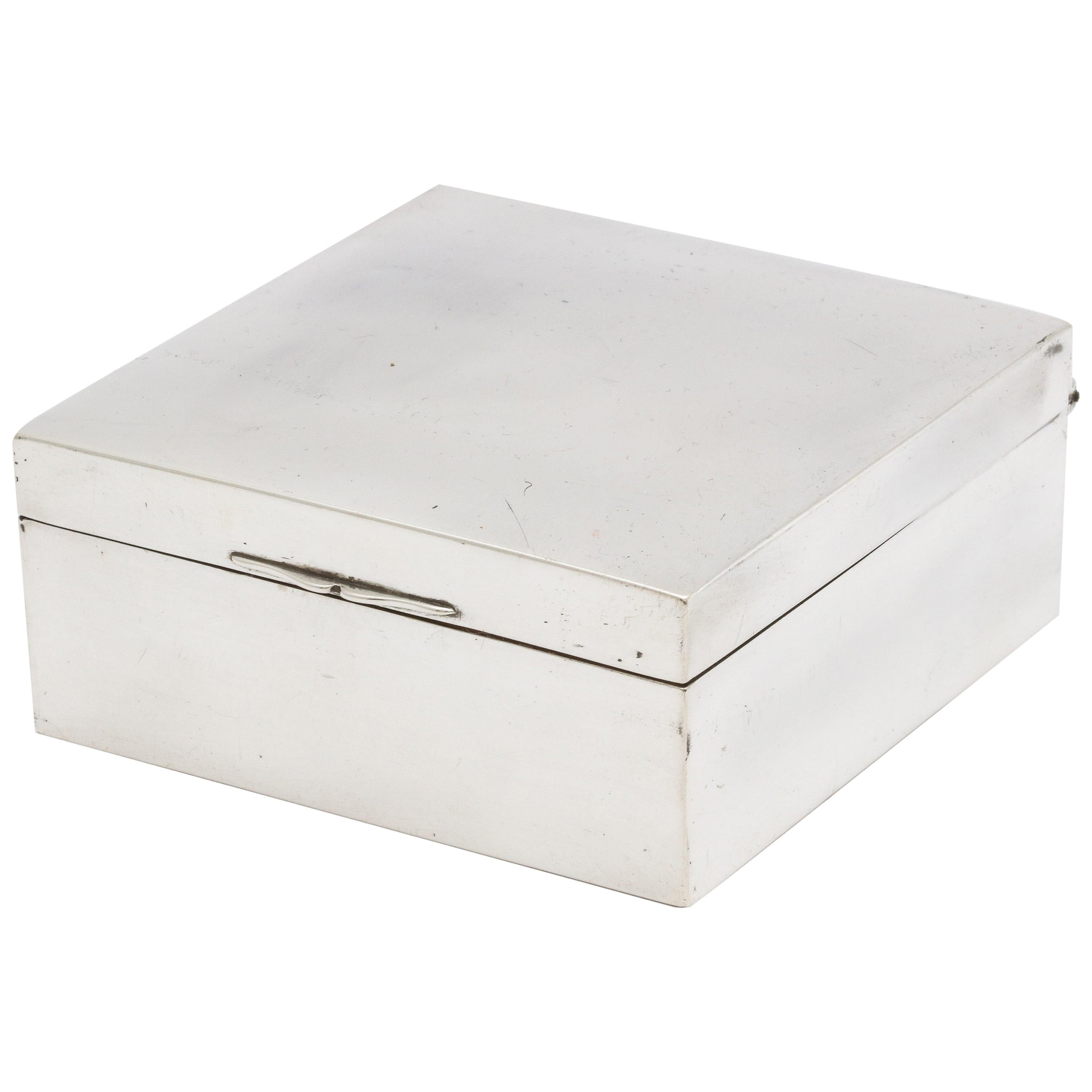 Art Deco Sterling Silver Table Box with Hinged Lid by Shreve & Co.