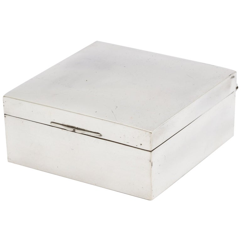Art Deco Sterling Silver Table Box with Hinged Lid by Shreve & Co. For Sale
