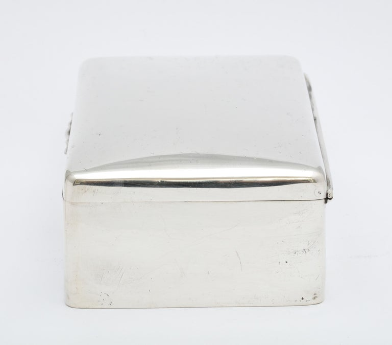 Art Deco Sterling Silver Table Box with Hinged Lid For Sale 1