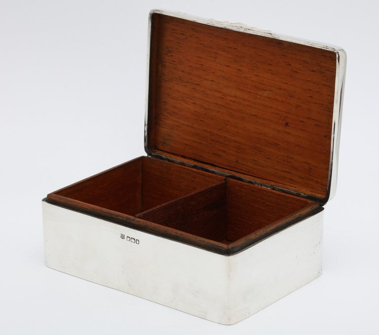 Art Deco Sterling Silver Table Box with Hinged Lid For Sale 3