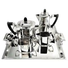 Art Deco Sterling Silver Tea & Coffee Set on Tray 1933 - 35 Teapot Coffee Pot