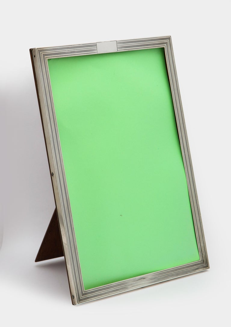 English Art Deco Sterling Silver Tuxedo-Striped Picture Frame with Wood Back For Sale