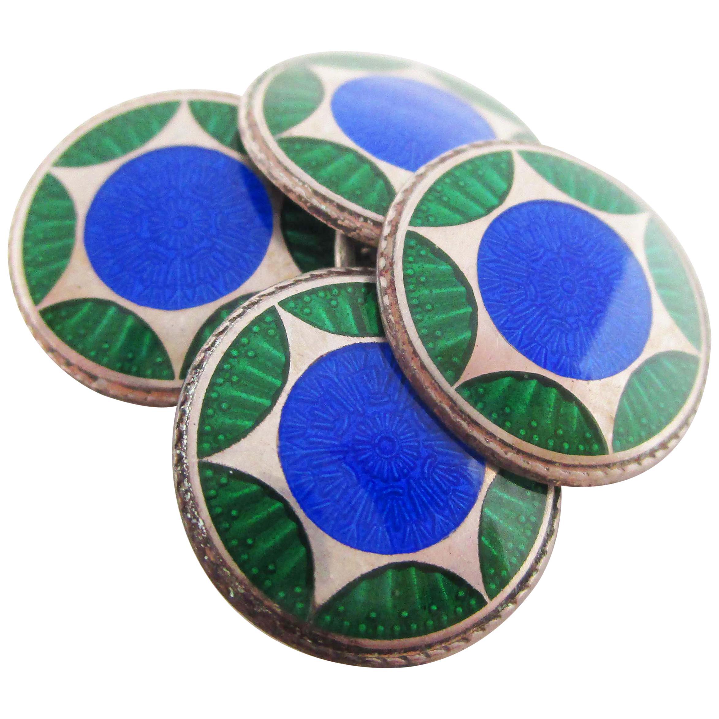 Art Deco Sterling Silver Two Color Enamel Cufflinks