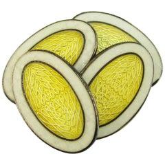 Art Deco Sterling Silver White and Yellow Enamel Krementz Cufflinks