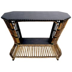 Art Deco Stick Wicker Reed Console Table