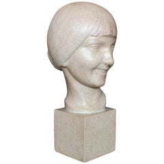 Art Deco Stone Bust of a Smiling Young Lady Signed L. Doré and Dated 1924