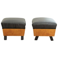 Art Deco Stool, Birch Roots, Faux Leather, France, circa 1930